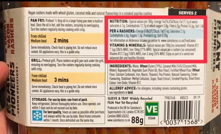 『プラントパイオニアーズ』ベーコン 栄養価