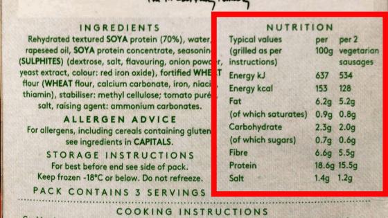 『リンダマッカートニー』ベジタリアンソーセージ 栄養価