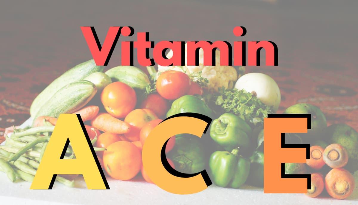 ビタミンACEの文字と野菜