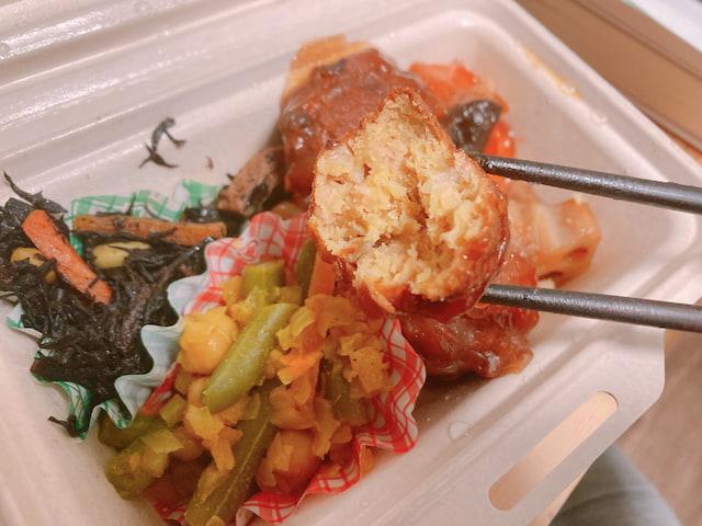 新メニュー②: 肉団子と野菜の甘酢あんの切り口