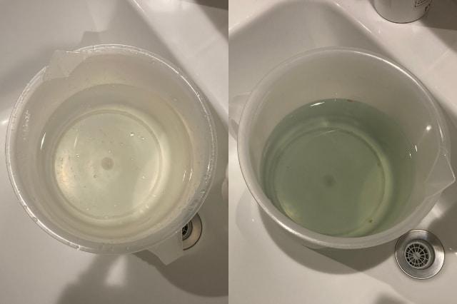 農薬低減水に野菜をつける前とつけた後の比較