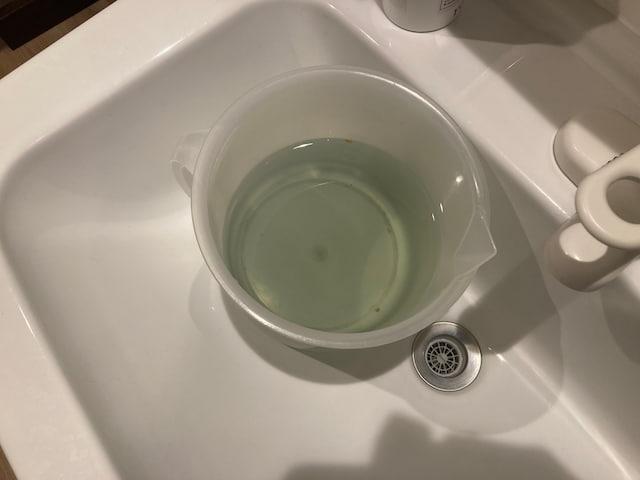 野菜を漬けた後の農薬低減水