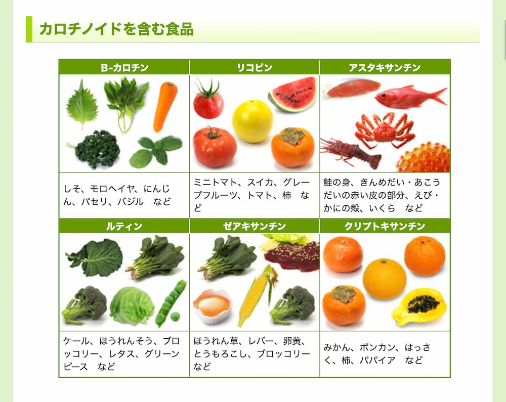 カロチノイドが多い食品